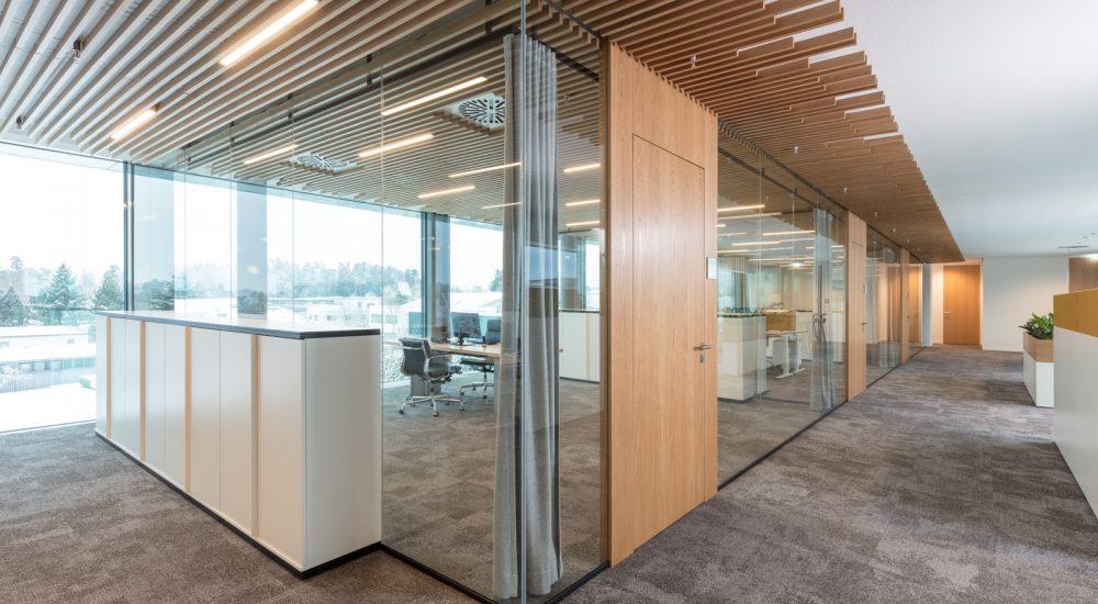 Raumaufteilung mit Glaswänden und Lamellendecke